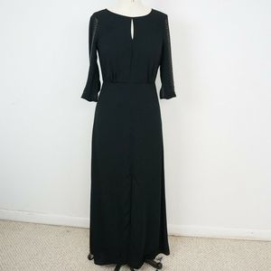 BCBGMaxazria Luce Black Gown Dress Studded Sleeves
